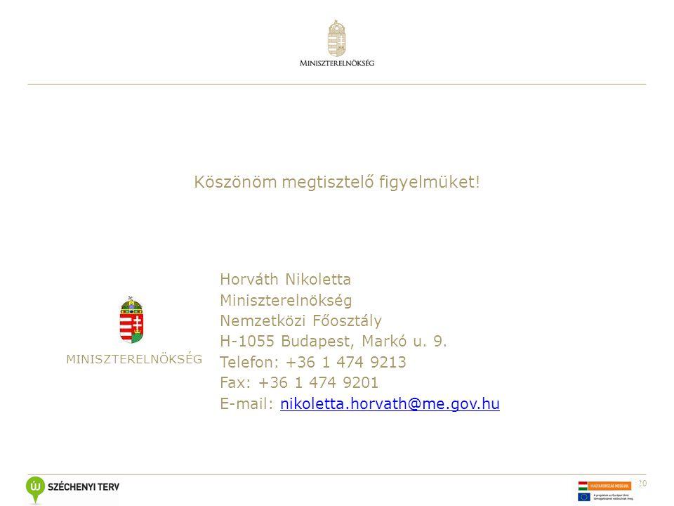20 Köszönöm megtisztelő figyelmüket! MINISZTERELNÖKSÉG Horváth Nikoletta Miniszterelnökség Nemzetközi Főosztály H-1055 Budapest, Markó u. 9. Telefon: