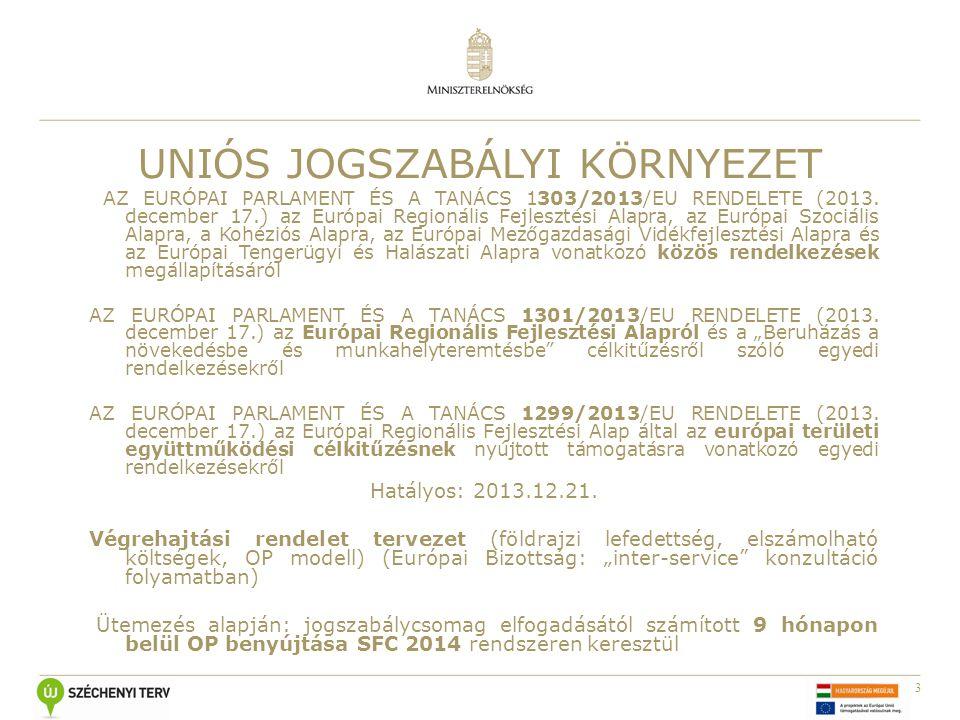 3 UNIÓS JOGSZABÁLYI KÖRNYEZET AZ EURÓPAI PARLAMENT ÉS A TANÁCS 1303/2013/EU RENDELETE (2013. december 17.) az Európai Regionális Fejlesztési Alapra, a