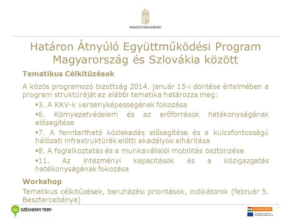 7 Határon Átnyúló Együttműködési Program Magyarország és Szlovákia között Tematikus Célkitűzések A közös programozó bizottság 2014. január 15-i döntés