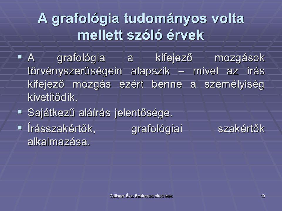 Czilinger Éva: Betűtestett öltött lélek10 A grafológia tudományos volta mellett szóló érvek  A grafológia a kifejező mozgások törvényszerűségein alap