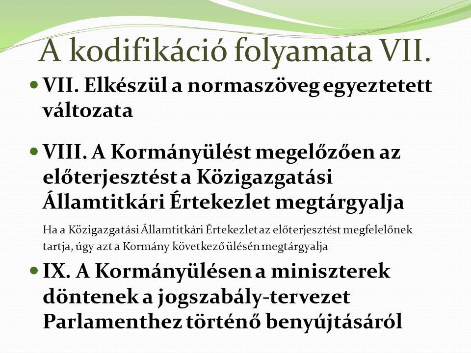 A kodifikáció folyamata VII.VII. Elkészül a normaszöveg egyeztetett változata VIII.