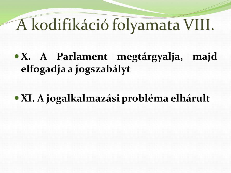 A kodifikáció folyamata VIII.X. A Parlament megtárgyalja, majd elfogadja a jogszabályt XI.
