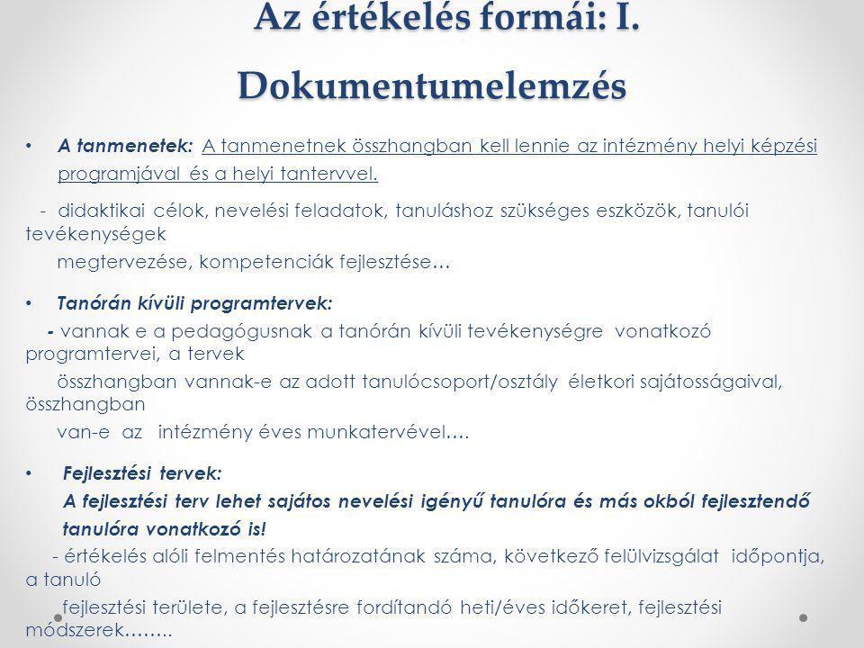 Az értékelés formái: I. Dokumentumelemzés Az értékelés formái: I. Dokumentumelemzés A tanmenetek: A tanmenetnek összhangban kell lennie az intézmény h
