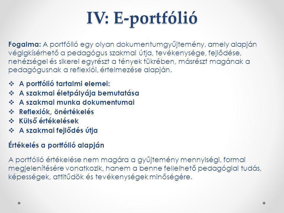 IV: E-portfólió Fogalma: A portfólió egy olyan dokumentumgyűjtemény, amely alapján végigkísérhető a pedagógus szakmai útja, tevékenysége, fejlődése, n