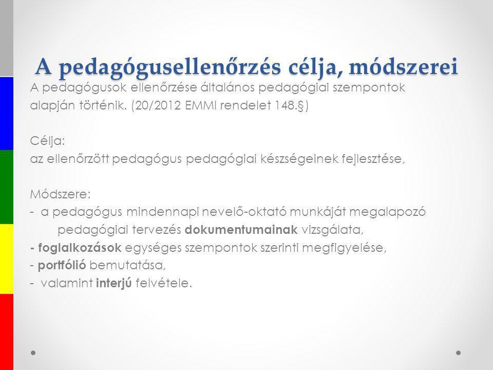 A pedagógusellenőrzés célja, módszerei A pedagógusok ellenőrzése általános pedagógiai szempontok alapján történik. (20/2012 EMMI rendelet 148.§) Célja