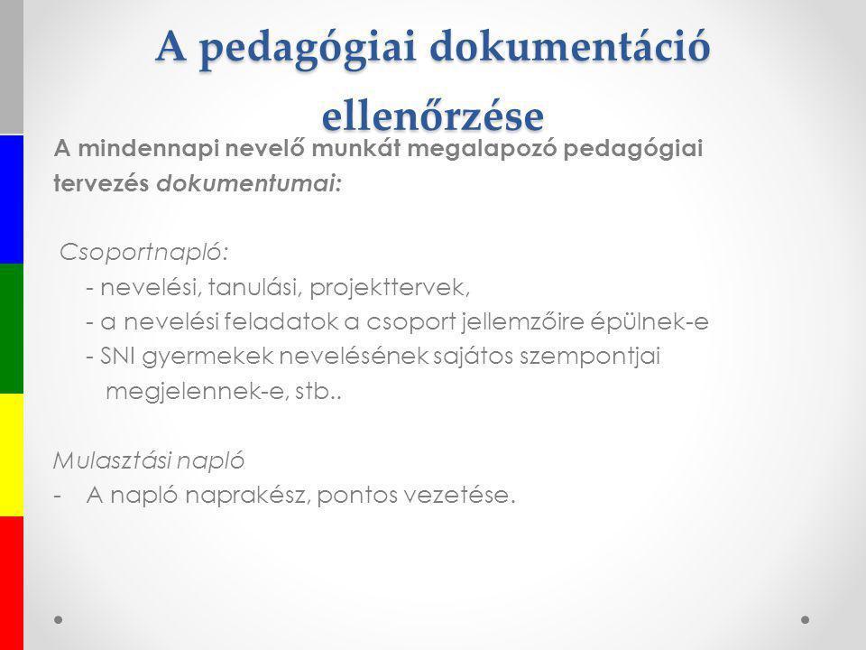 A pedagógiai dokumentáció ellenőrzése A mindennapi nevelő munkát megalapozó pedagógiai tervezés dokumentumai: Csoportnapló: - nevelési, tanulási, proj