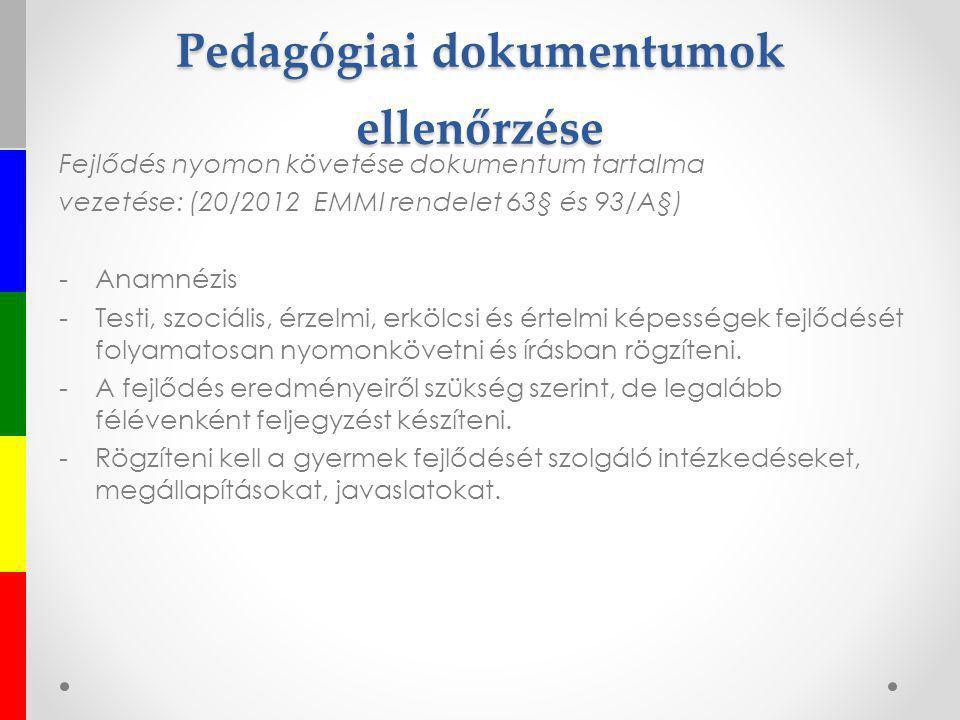 Pedagógiai dokumentumok ellenőrzése Fejlődés nyomon követése dokumentum tartalma vezetése: (20/2012 EMMI rendelet 63§ és 93/A§) -Anamnézis -Testi, szo