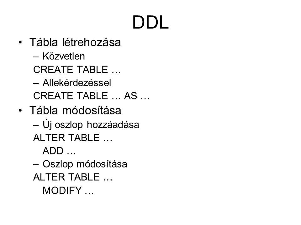 DDL Tábla létrehozása –Közvetlen CREATE TABLE … –Allekérdezéssel CREATE TABLE … AS … Tábla módosítása –Új oszlop hozzáadása ALTER TABLE … ADD … –Oszlo