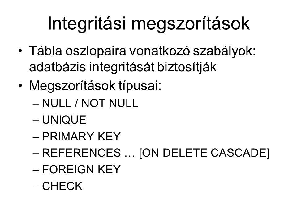 Integritási megszorítások Tábla oszlopaira vonatkozó szabályok: adatbázis integritását biztosítják Megszorítások típusai: –NULL / NOT NULL –UNIQUE –PR