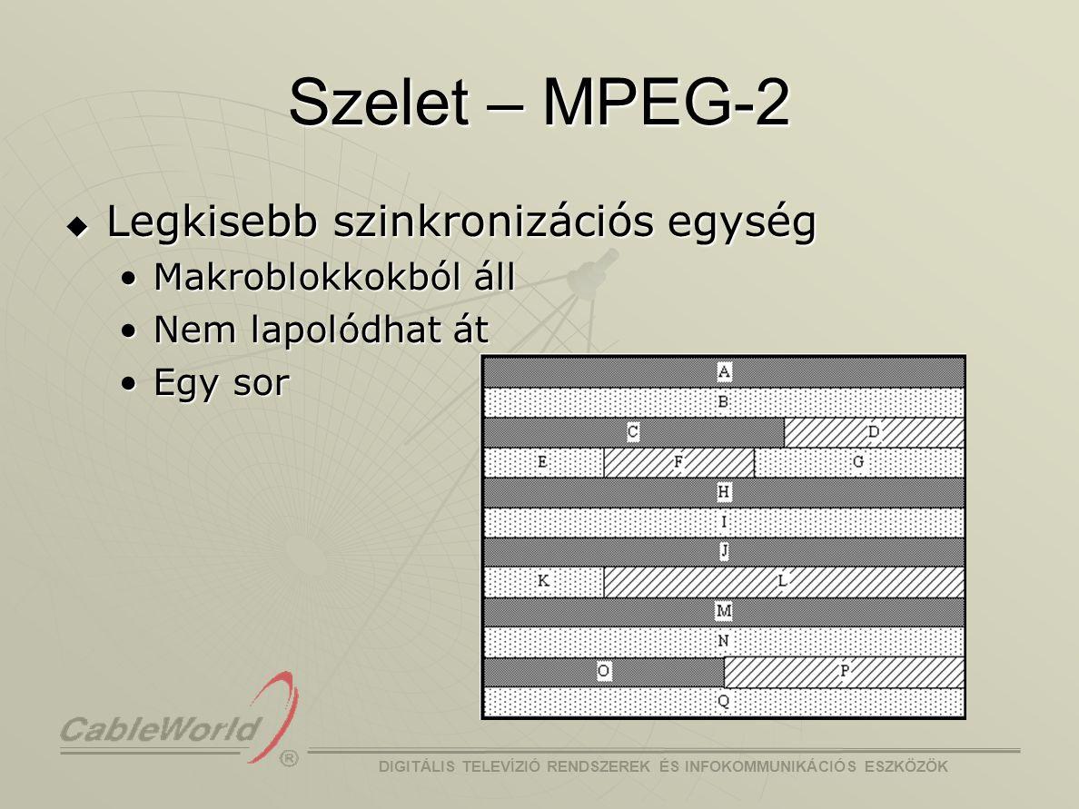 DIGITÁLIS TELEVÍZIÓ RENDSZEREK ÉS INFOKOMMUNIKÁCIÓS ESZKÖZÖK Szelet – H.264  16x16 pixeles makroblokkokból áll  Több sor is lehet  Rugalmas makroblokk sorrend (FMO) Kép  szelet csoport  szeletKép  szelet csoport  szelet  Bármelyik makroblokk bármelyik szelet csoporthoz  Kiemelt terület, hibatűrés