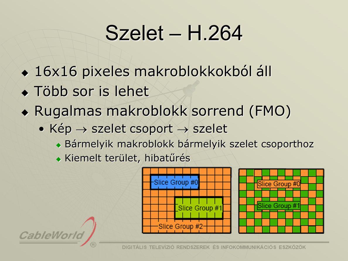 DIGITÁLIS TELEVÍZIÓ RENDSZEREK ÉS INFOKOMMUNIKÁCIÓS ESZKÖZÖK Szerkezet – MPEG-2  Hierarchikus SzekvenciaSzekvencia KépcsoportKépcsoport KépKép SzeletSzelet MakroblokkMakroblokk BlokkBlokk Y0Y1 Y3Y2 UV IBBPBBPBBBPIBBBPB