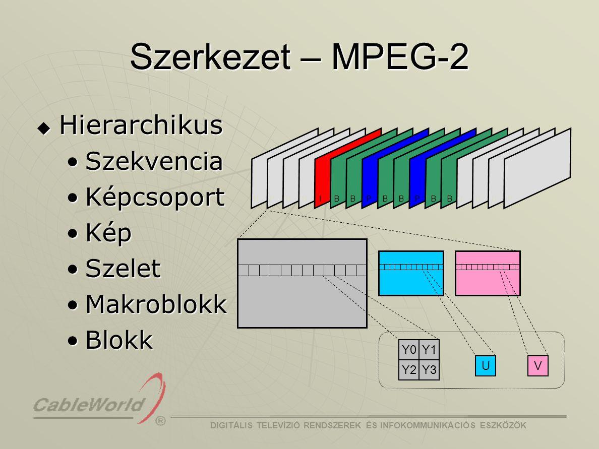 DIGITÁLIS TELEVÍZIÓ RENDSZEREK ÉS INFOKOMMUNIKÁCIÓS ESZKÖZÖK Szerkezet – H.264 RTP/IP MPEG-2 TS NAL Stb… VCL  NAL (Network Abstraction Layer) struktúra Átviteli közeghez illesztést segítiÁtviteli közeghez illesztést segíti  RTP/IP, file formátumok, MPEG-2 TS, … VCL (Video Coding Layer)VCL (Video Coding Layer)  Eddigi szabványokban csak ez volt Non-VCL NAL unitNon-VCL NAL unit  Parameter set – nem fejlécek sequence parameter setsequence parameter set picture parameter setpicture parameter set  Kiegészítő információk