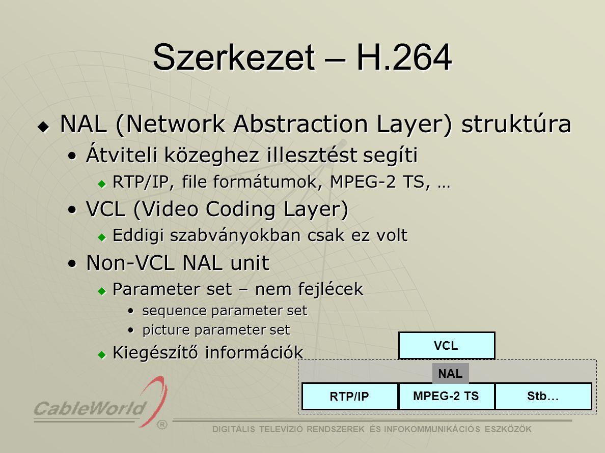 DIGITÁLIS TELEVÍZIÓ RENDSZEREK ÉS INFOKOMMUNIKÁCIÓS ESZKÖZÖK Összefoglalva  Hatékonyabb mozgásbecslés  Kis blokkméretű pontos transzformáció  Deblocking szűrő a kódolási hurokban  Hatékonyabb entrópia kódolás  Tömörítés  8–10 –szer komplexebb mint MPEG-2  Kitömörítés  kb.