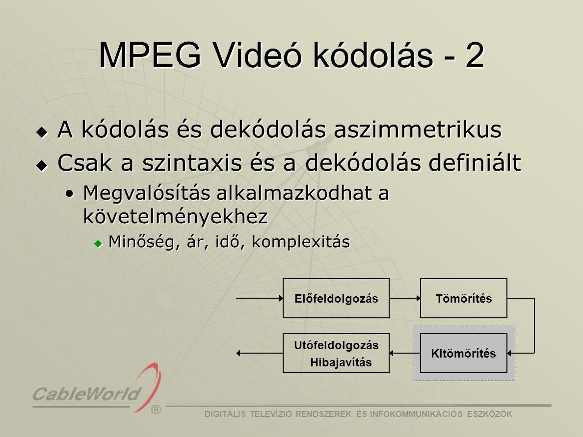 DIGITÁLIS TELEVÍZIÓ RENDSZEREK ÉS INFOKOMMUNIKÁCIÓS ESZKÖZÖK MPEG-2  MPEG-2 : ISO/IEC 13818 (1994) Általános célú mozgókép és hang tömörítés.Általános célú mozgókép és hang tömörítés.