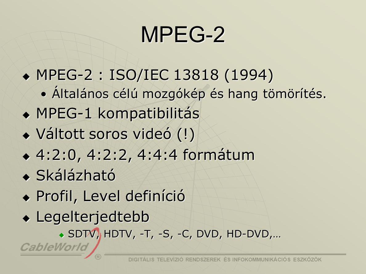 DIGITÁLIS TELEVÍZIÓ RENDSZEREK ÉS INFOKOMMUNIKÁCIÓS ESZKÖZÖK H.264 / MPEG-4 AVC  Video Coding Experts Group (VCEG) H.26L (1998)H.26L (1998)  Cél: 2-szeres tömörítési hatékonyság  Moving Pictures Expert Group (MPEG) MPEG-4 Part 10MPEG-4 Part 10 AVC (Advanced Video Coding)AVC (Advanced Video Coding)  Joint Video Team (JVT) H.264 / AVC (2001)H.264 / AVC (2001)