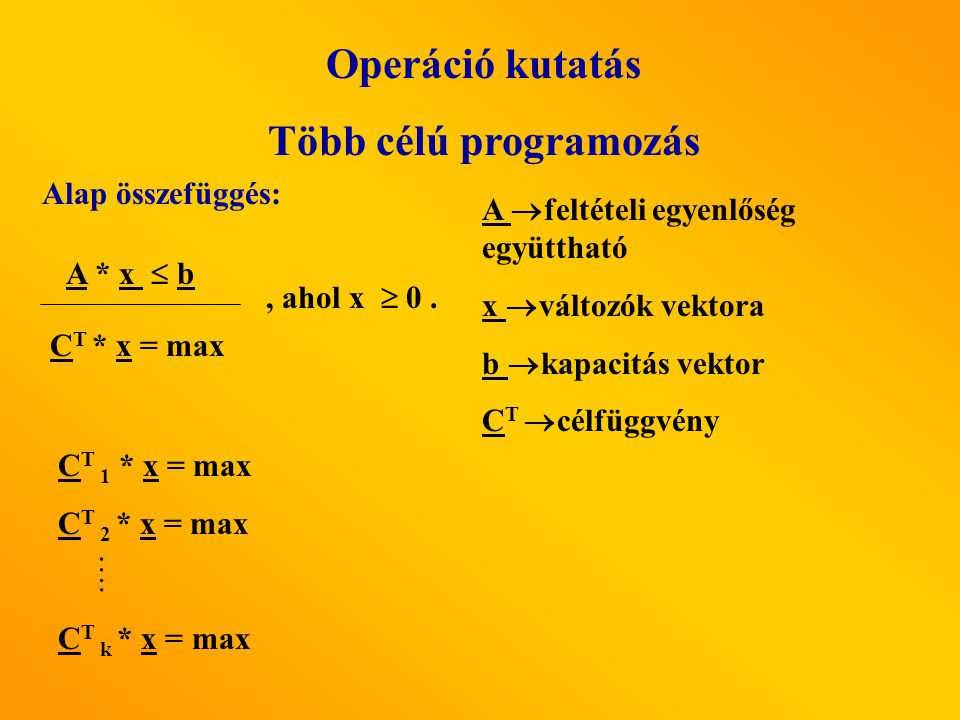 Operáció kutatás Több célú programozás A * x  b C T * x = max, ahol x  0. Alap összefüggés: C T 1 * x = max C T 2 * x = max C T k * x = max …. A  f