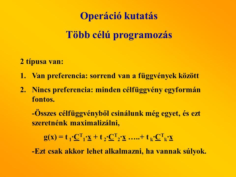 Operáció kutatás Több célú programozás 2 típusa van: 1.Van preferencia: sorrend van a függvények között 2.Nincs preferencia: minden célfüggvény egyformán fontos.