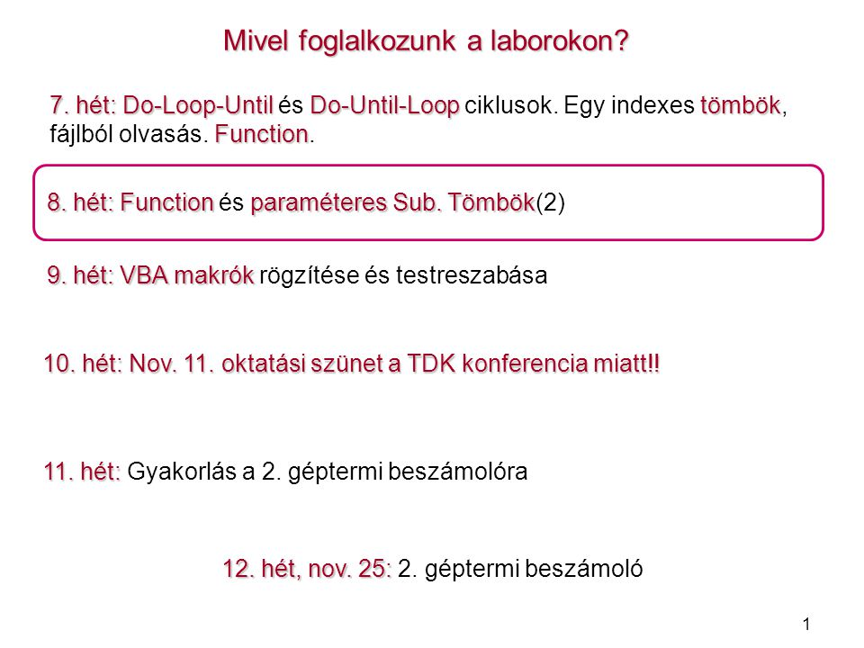 1 Mivel foglalkozunk a laborokon? 7. hét: Do-Loop-Until Do-Until-Looptömbök Function 7. hét: Do-Loop-Until és Do-Until-Loop ciklusok. Egy indexes tömb