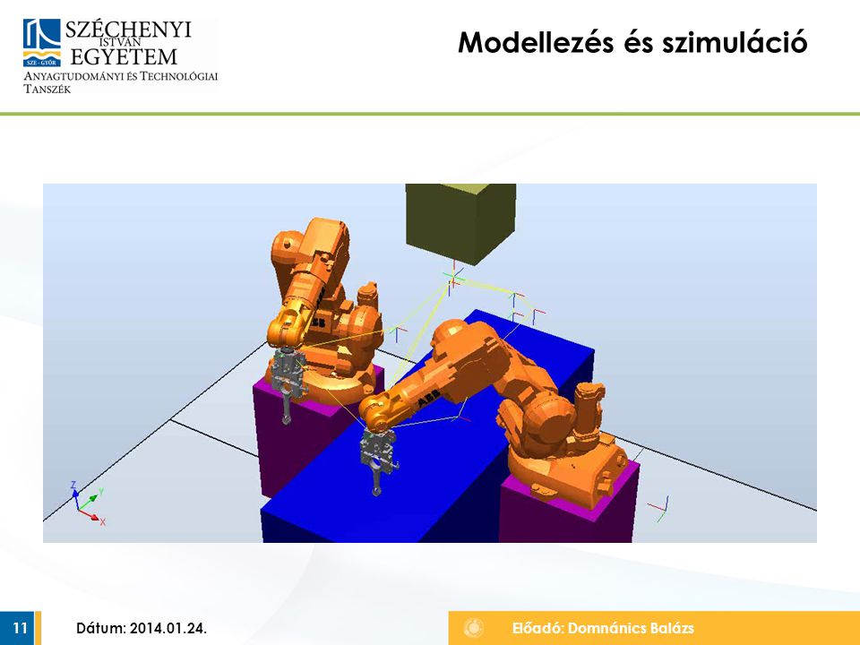 Dátum: 2014.01.24.11 Modellezés és szimuláció Előadó: Domnánics Balázs