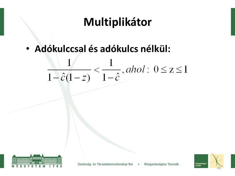 45 Multiplikátor Adókulccsal és adókulcs nélkül: