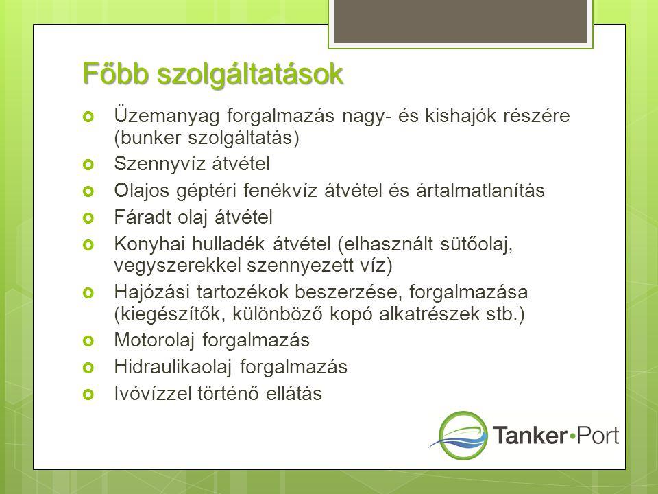 Főbb szolgáltatások  Üzemanyag forgalmazás nagy- és kishajók részére (bunker szolgáltatás)  Szennyvíz átvétel  Olajos géptéri fenékvíz átvétel és á