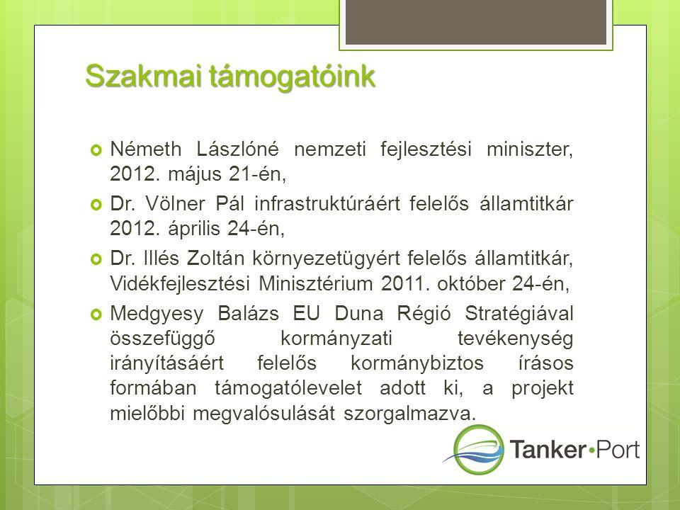 Szakmai támogatóink  Németh Lászlóné nemzeti fejlesztési miniszter, 2012. május 21-én,  Dr. Völner Pál infrastruktúráért felelős államtitkár 2012. á
