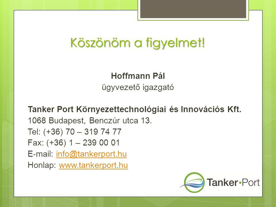 Köszönöm a figyelmet! Hoffmann Pál ügyvezető igazgató Tanker Port Környezettechnológiai és Innovációs Kft. 1068 Budapest, Benczúr utca 13. Tel: (+36)