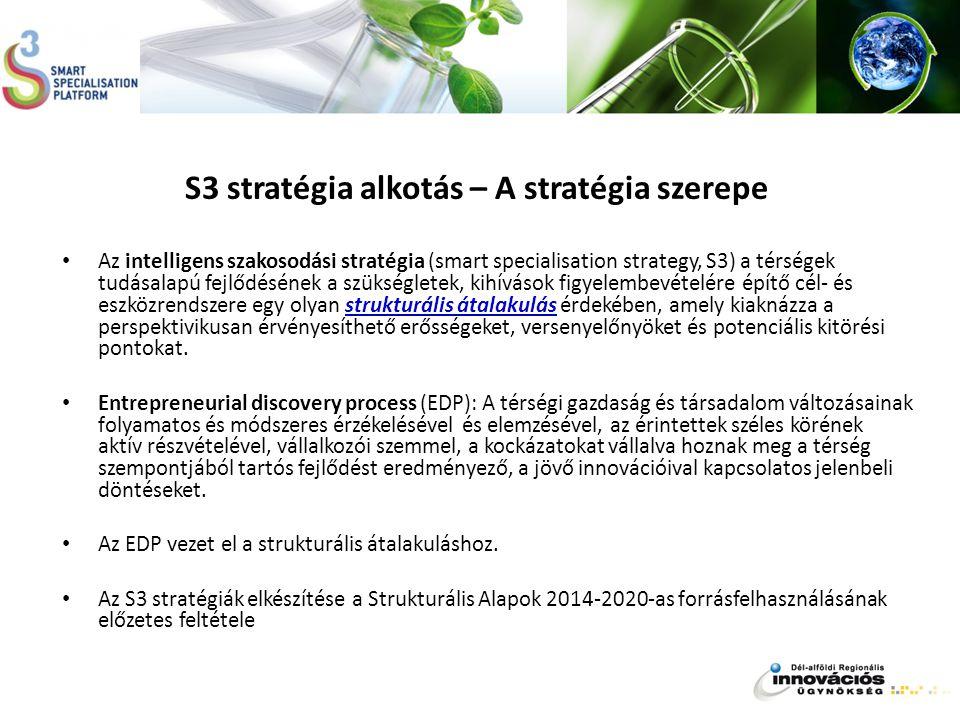 S3 stratégia alkotás – A stratégia szerepe Az intelligens szakosodási stratégia (smart specialisation strategy, S3) a térségek tudásalapú fejlődésének