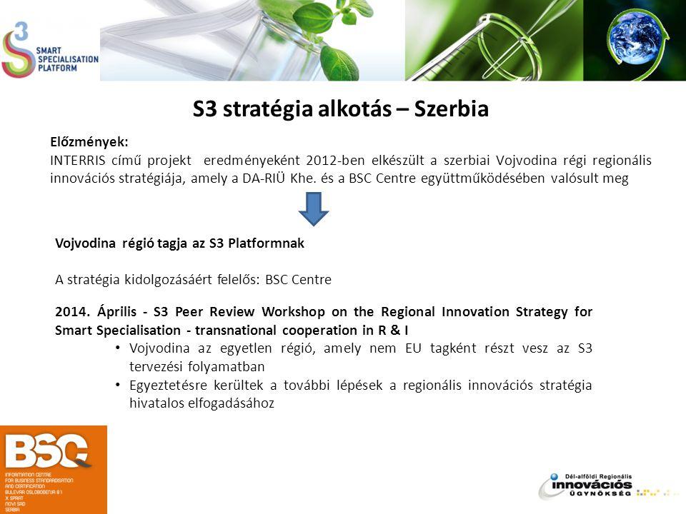 S3 stratégia alkotás – Szerbia Előzmények: INTERRIS című projekt eredményeként 2012-ben elkészült a szerbiai Vojvodina régi regionális innovációs stra