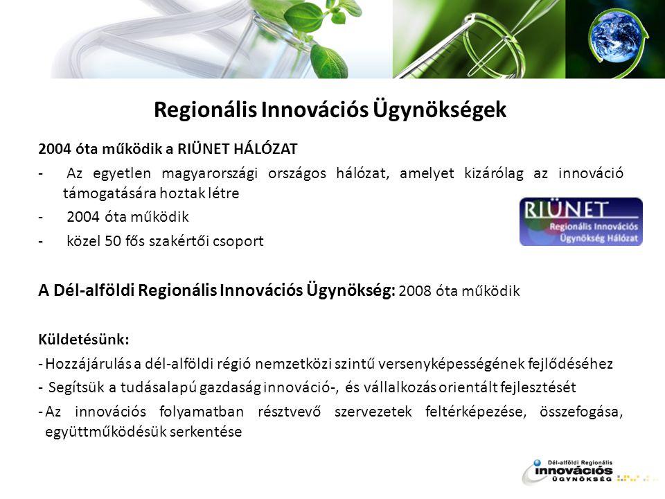 Regionális Innovációs Ügynökségek 2004 óta működik a RIÜNET HÁLÓZAT - Az egyetlen magyarországi országos hálózat, amelyet kizárólag az innováció támog