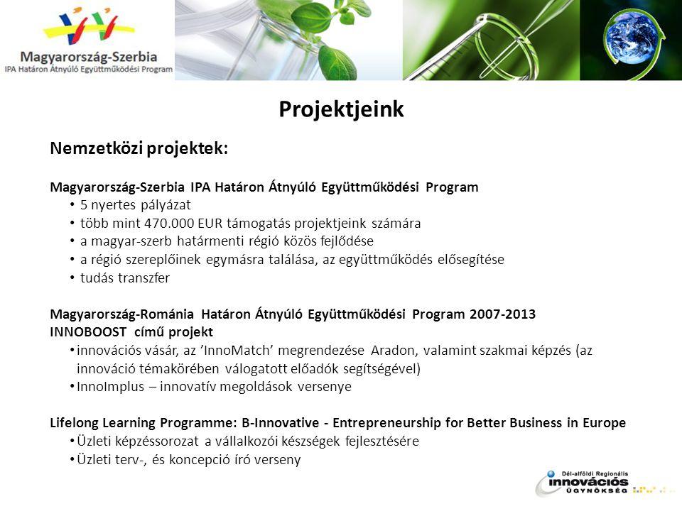 Projektjeink Nemzetközi projektek: Magyarország-Szerbia IPA Határon Átnyúló Együttműködési Program 5 nyertes pályázat több mint 470.000 EUR támogatás