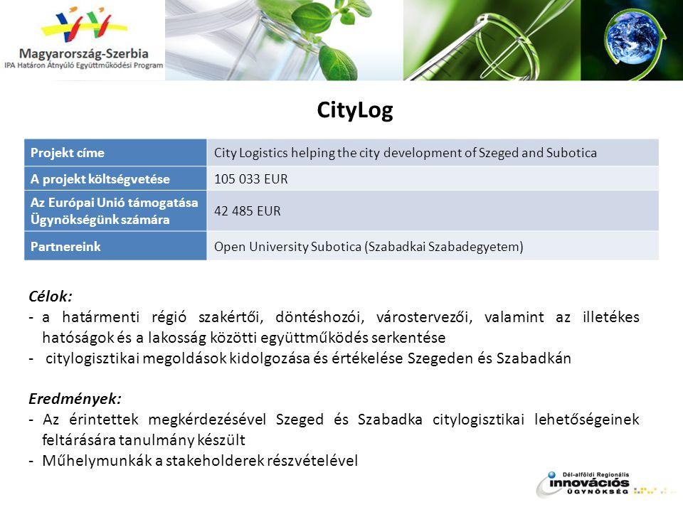 CityLog Célok: -a határmenti régió szakértői, döntéshozói, várostervezői, valamint az illetékes hatóságok és a lakosság közötti együttműködés serkenté
