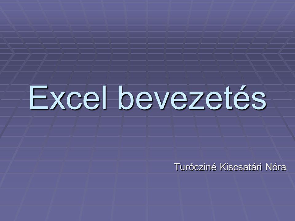 Excel bevezetés Turócziné Kiscsatári Nóra