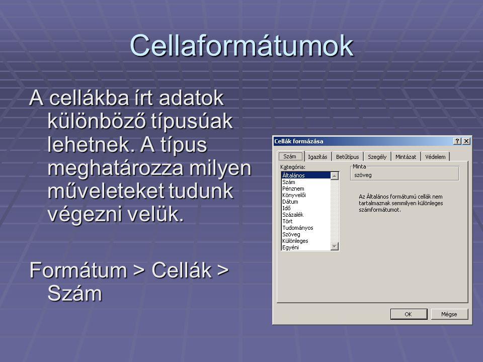 Cellaformátumok A cellákba írt adatok különböző típusúak lehetnek. A típus meghatározza milyen műveleteket tudunk végezni velük. Formátum > Cellák > S