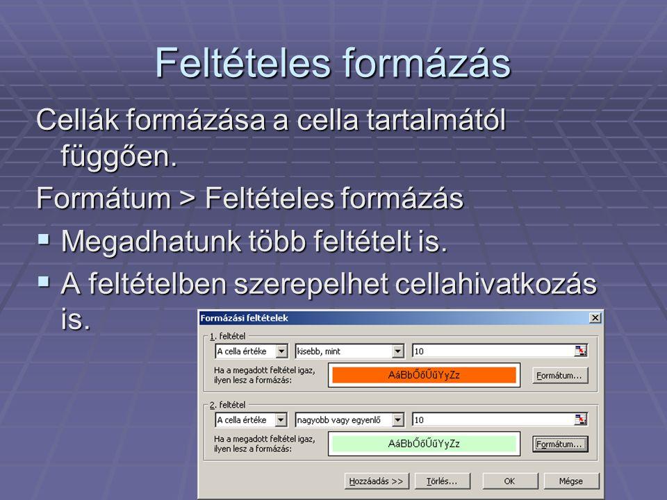 Feltételes formázás Cellák formázása a cella tartalmától függően. Formátum > Feltételes formázás  Megadhatunk több feltételt is.  A feltételben szer