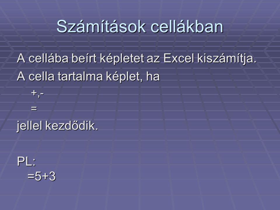 Számítások cellákban A cellába beírt képletet az Excel kiszámítja. A cella tartalma képlet, ha +,-= jellel kezdődik. PL: =5+3
