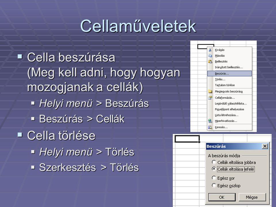 Cellaműveletek  Cella beszúrása (Meg kell adni, hogy hogyan mozogjanak a cellák)  Helyi menü > Beszúrás  Beszúrás > Cellák  Cella törlése  Helyi