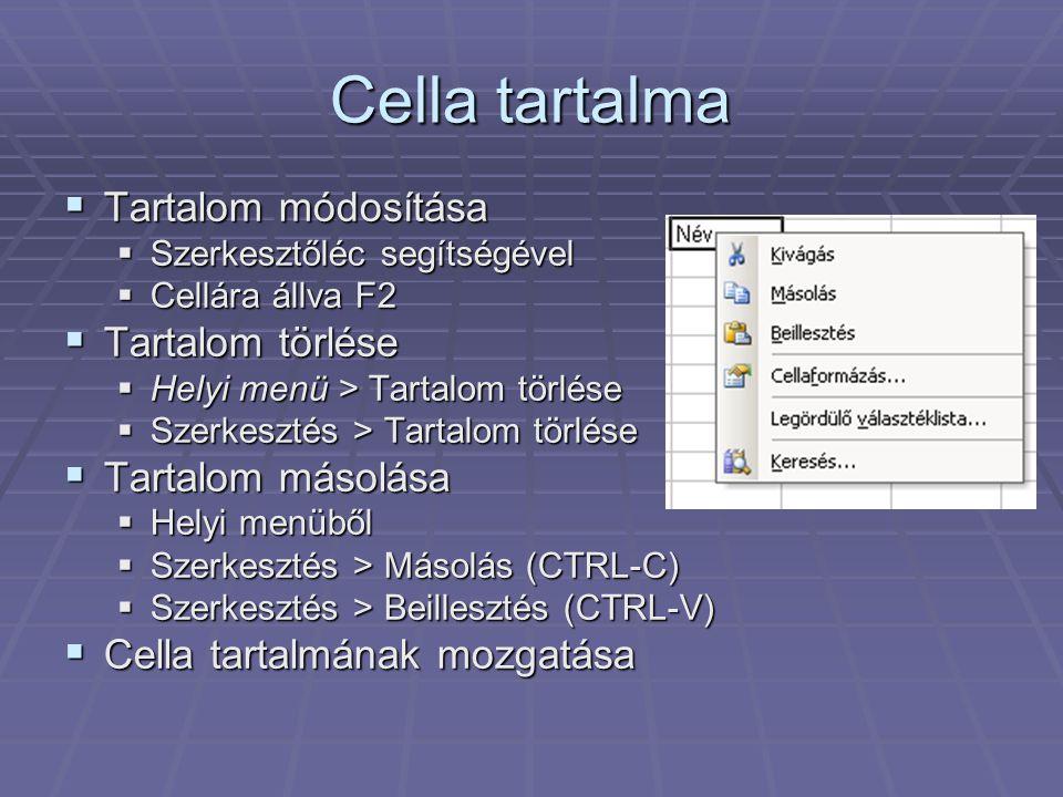 Cella tartalma  Tartalom módosítása  Szerkesztőléc segítségével  Cellára állva F2  Tartalom törlése  Helyi menü > Tartalom törlése  Szerkesztés