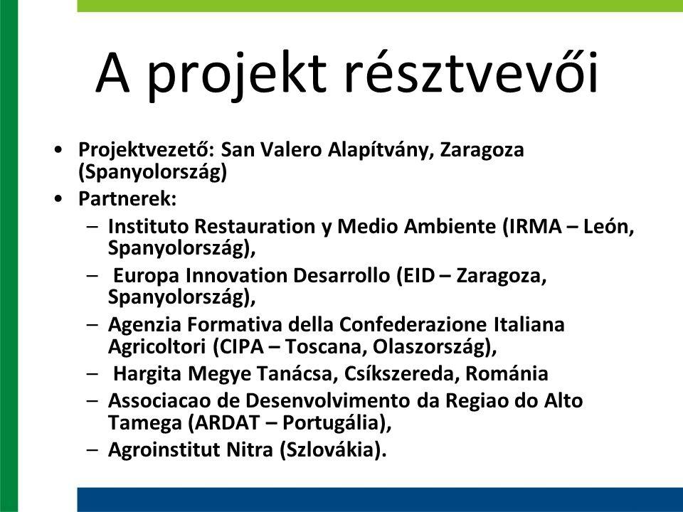 A projekt résztvevői Projektvezető: San Valero Alapítvány, Zaragoza (Spanyolország) Partnerek: –Instituto Restauration y Medio Ambiente (IRMA – León, Spanyolország), – Europa Innovation Desarrollo (EID – Zaragoza, Spanyolország), –Agenzia Formativa della Confederazione Italiana Agricoltori (CIPA – Toscana, Olaszország), – Hargita Megye Tanácsa, Csíkszereda, Románia –Associacao de Desenvolvimento da Regiao do Alto Tamega (ARDAT – Portugália), –Agroinstitut Nitra (Szlovákia).