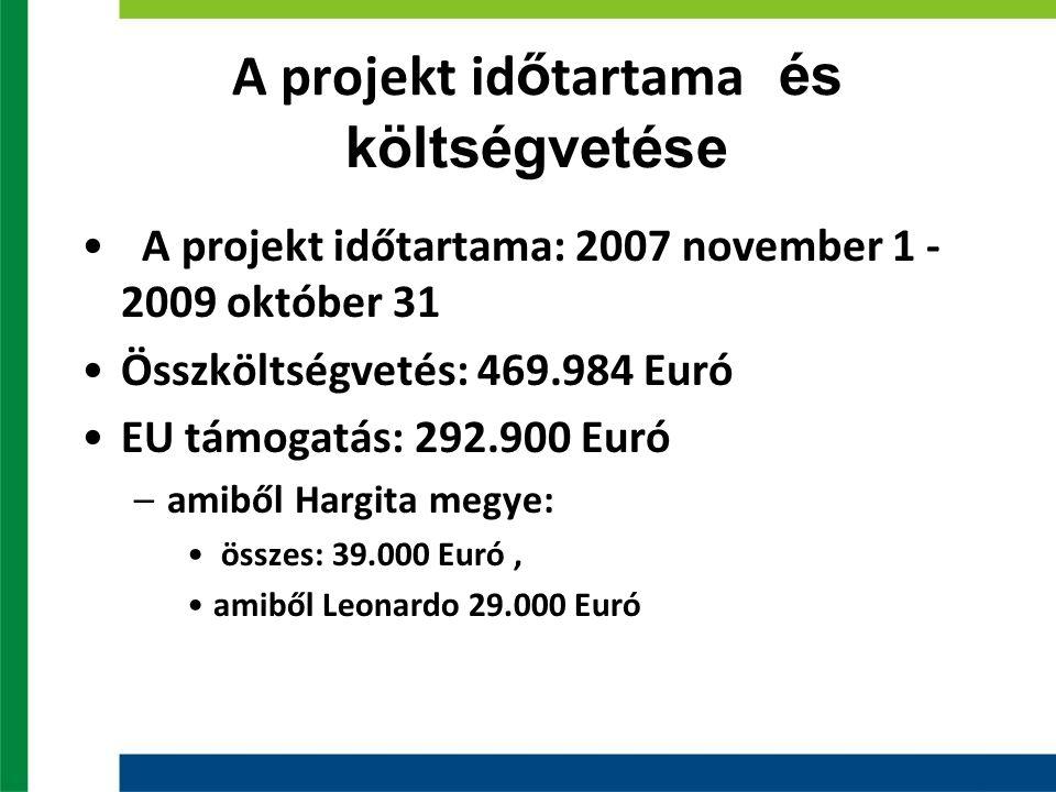 A projekt id ő tartama és költségvetése A projekt időtartama: 2007 november 1 - 2009 október 31 Összköltségvetés: 469.984 Euró EU támogatás: 292.900 Euró –amiből Hargita megye: összes: 39.000 Euró, amiből Leonardo 29.000 Euró
