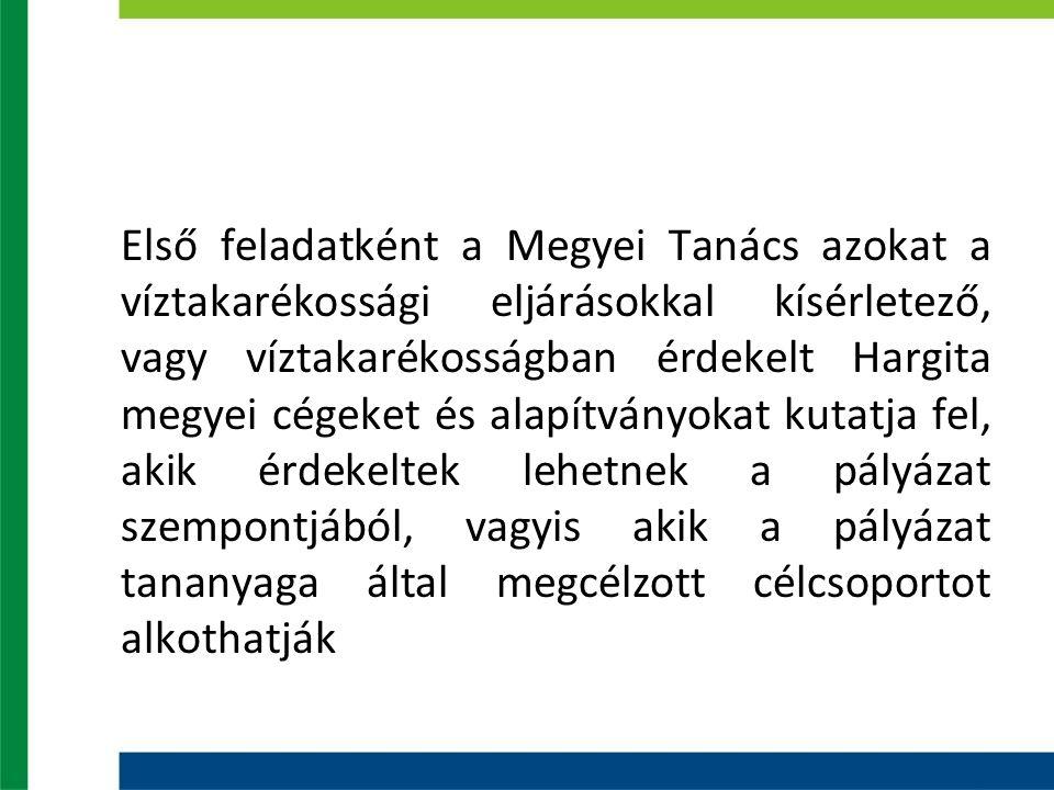 Első feladatként a Megyei Tanács azokat a víztakarékossági eljárásokkal kísérletező, vagy víztakarékosságban érdekelt Hargita megyei cégeket és alapít