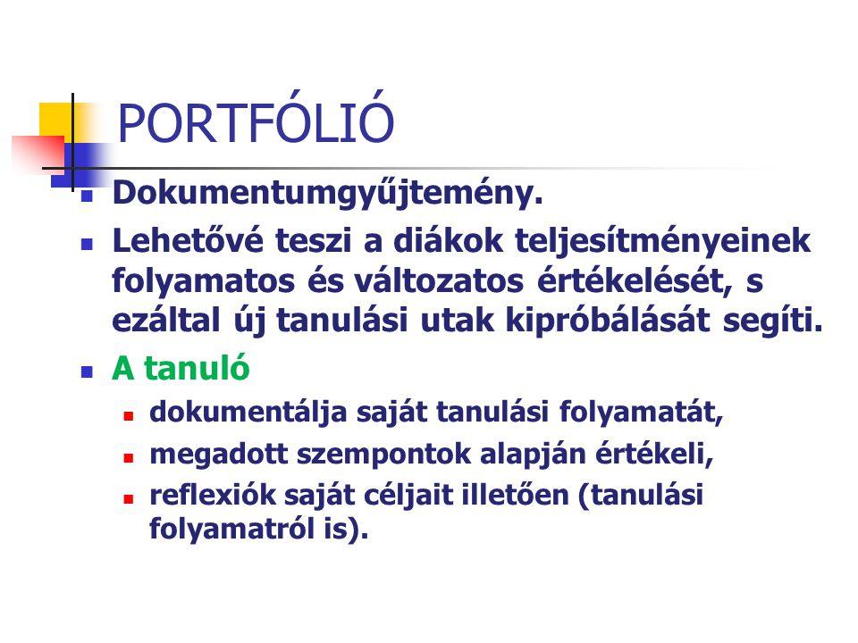 PORTFÓLIÓ Dokumentumgyűjtemény. Lehetővé teszi a diákok teljesítményeinek folyamatos és változatos értékelését, s ezáltal új tanulási utak kipróbálásá