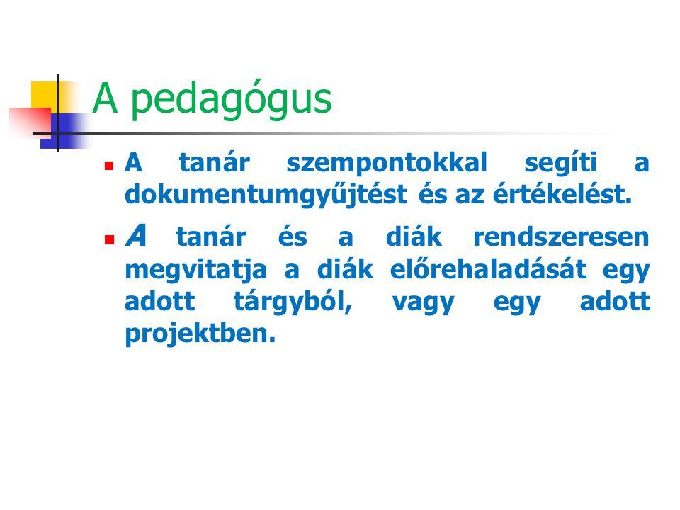 A pedagógus A tanár szempontokkal segíti a dokumentumgyűjtést és az értékelést. A tanár és a diák rendszeresen megvitatja a diák előrehaladását egy ad