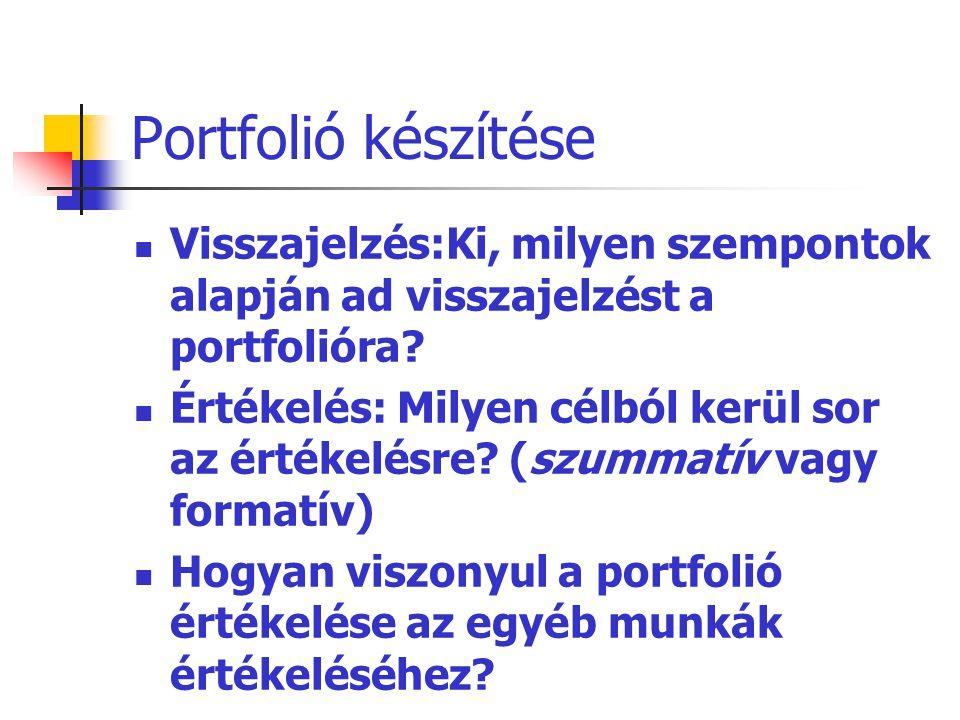 Portfolió készítése Visszajelzés:Ki, milyen szempontok alapján ad visszajelzést a portfolióra? Értékelés: Milyen célból kerül sor az értékelésre? (szu
