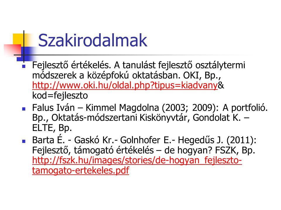Szakirodalmak Fejlesztő értékelés. A tanulást fejlesztő osztálytermi módszerek a középfokú oktatásban. OKI, Bp., http://www.oki.hu/oldal.php?tipus=kia