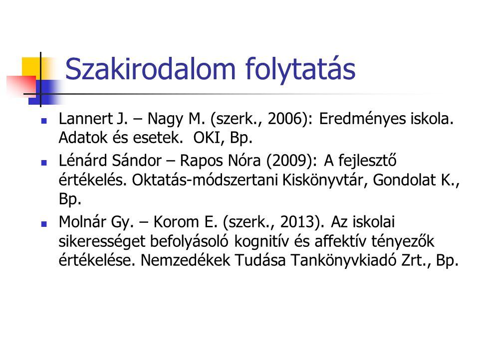 Szakirodalom folytatás Lannert J. – Nagy M. (szerk., 2006): Eredményes iskola. Adatok és esetek. OKI, Bp. Lénárd Sándor – Rapos Nóra (2009): A fejlesz