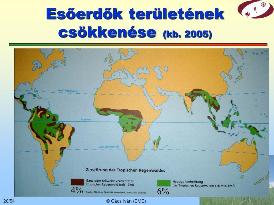 © Gács Iván (BME)19/54 Széndioxid koncentráció növekedése – de mitől? Antropogén növekmény +5% Gt/év ppm +45%