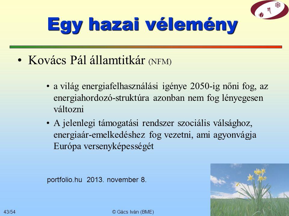 © Gács Iván (BME)42/54 WEC vélemény, 2013. október