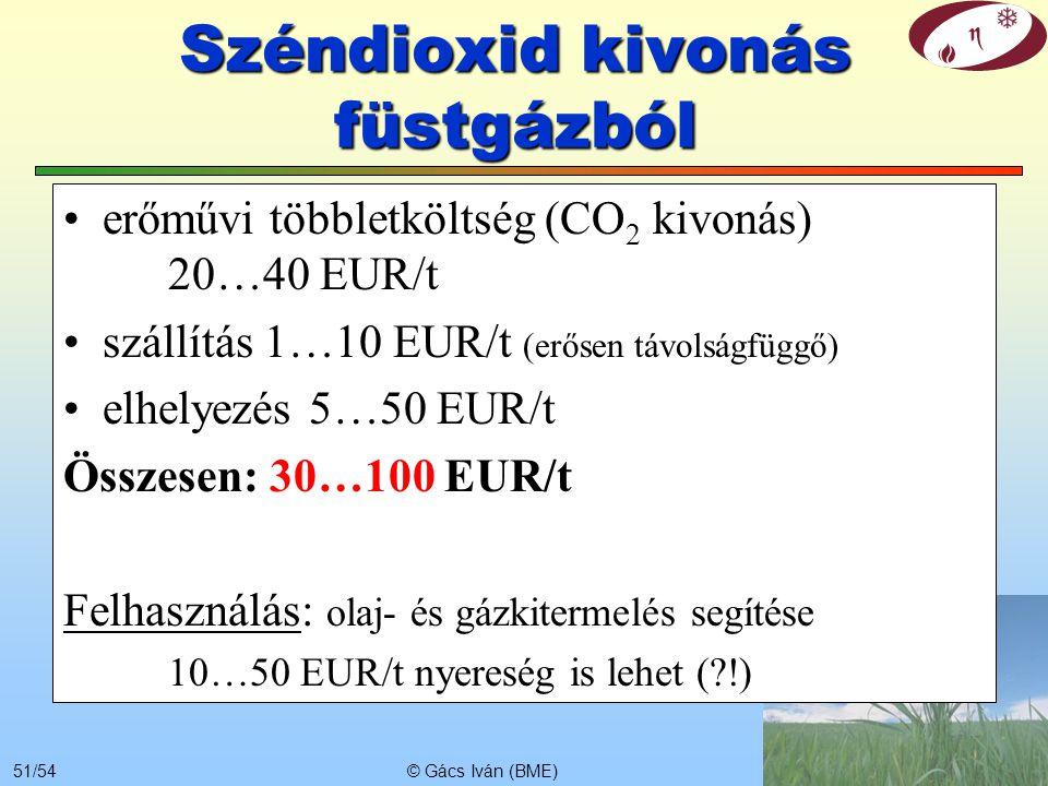 © Gács Iván (BME)50/54 Hőerőművek Szén helyett földgáz (hazai prognózis) : fajlagos költség: 6 200 Ft/t CO 2 (24 EUR/t) Atomerőmű: költségmegtakarítás