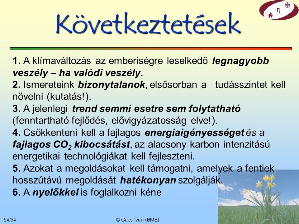 © Gács Iván (BME)53/54 Ki nem bocsátás költsége Széndioxid kivonás és eltárolás (CCS) fejlesztés alatt áll, költségek bizonytalanok Összesen: 30…100 E